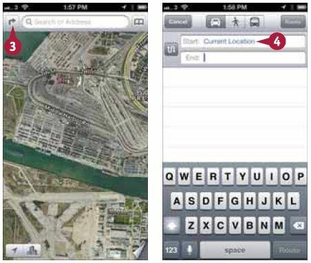 На экране «Карты» (Maps) нажмите кнопку с кривой стрелкой