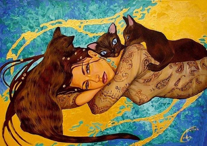 Рисунок женщина с кошками картинки