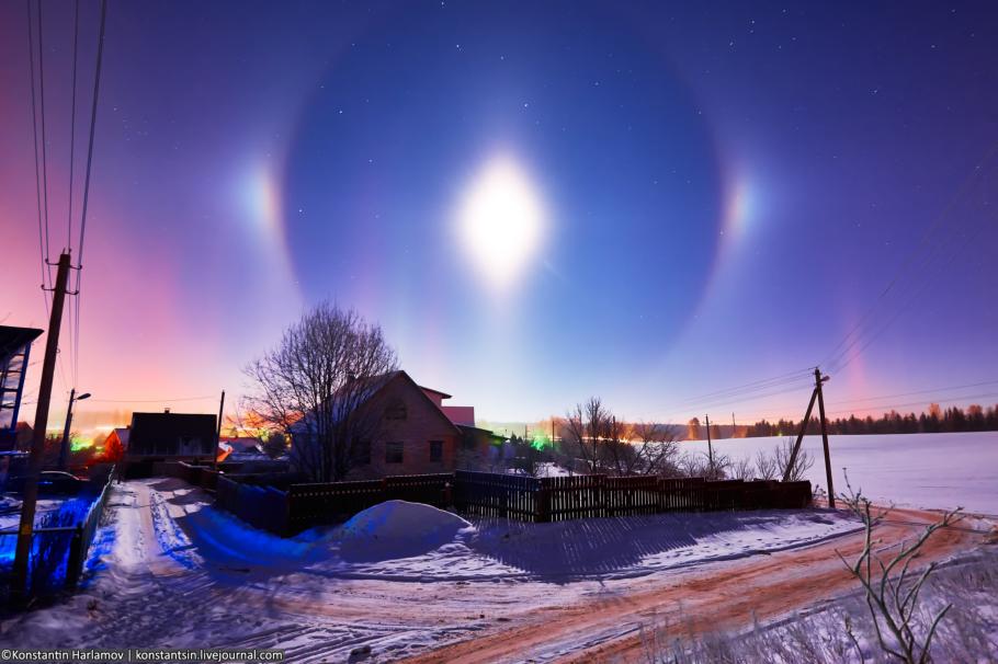 зимняя ночь, световые столбы, лунное гало, гало