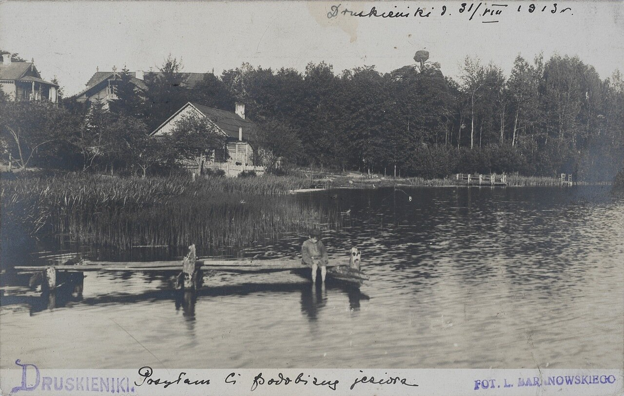 Гнездо аиста над озером. 1913