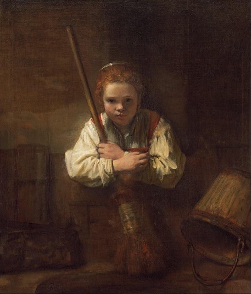 A Girl with a Broom (Девушка с метлой) 1646/1648-1651, Мастерская Рембрандта.  Возможно Carel Fabritius (Фабрициус Карел) (1622–1654)