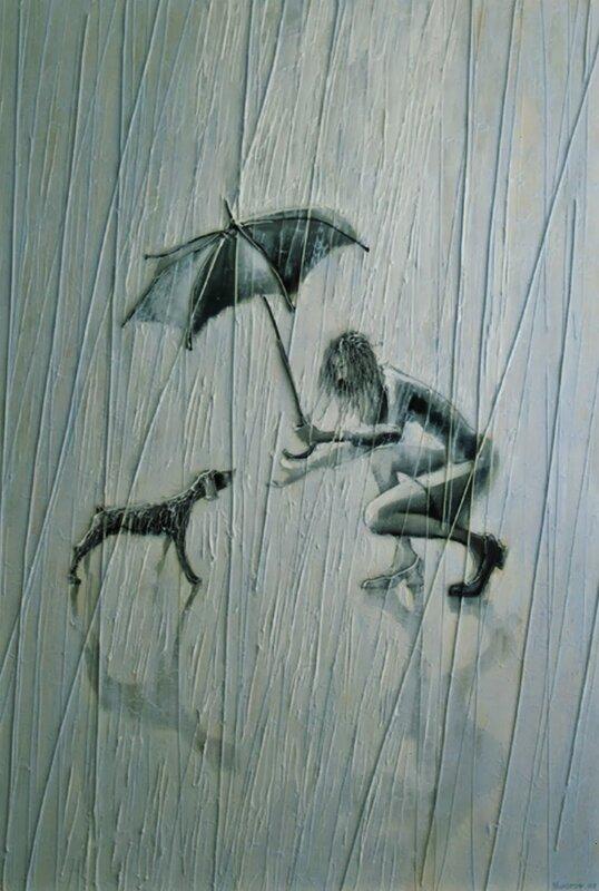 Художник Игорь Мудров.  Про дождь, девушку, зонтик и ...любовь