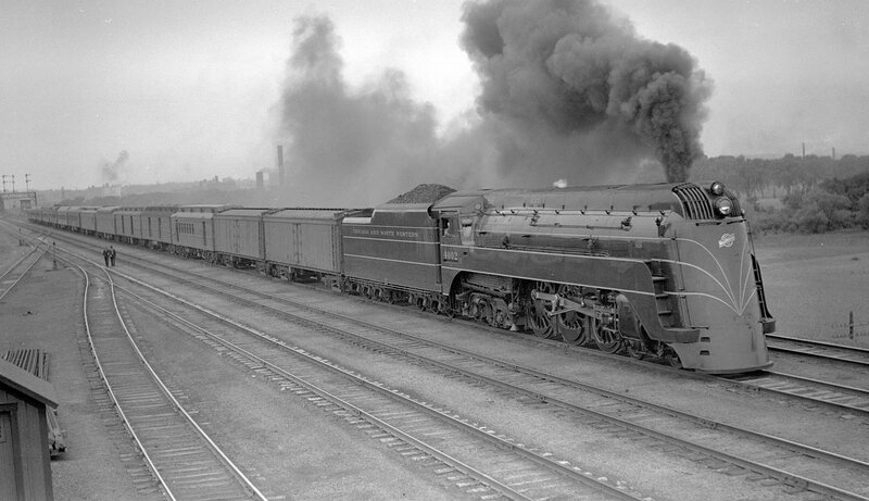 Chicago & North Western train, engine number 4002, engine type 4- 6-4, near Council Bluffs, Iowa, May 29, 1938