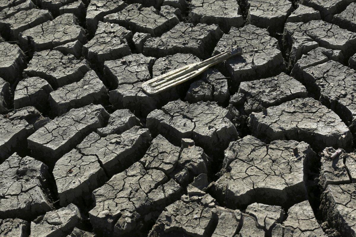 6. Весло на дне практически полностью высохшего водоема Альмаден неподалеку от Сан-Хосе. Многие счит