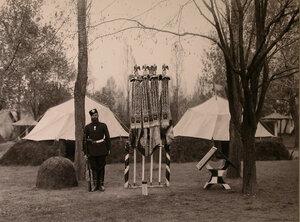 Солдат у полковых знамен, украшенных юбилейными лентами.