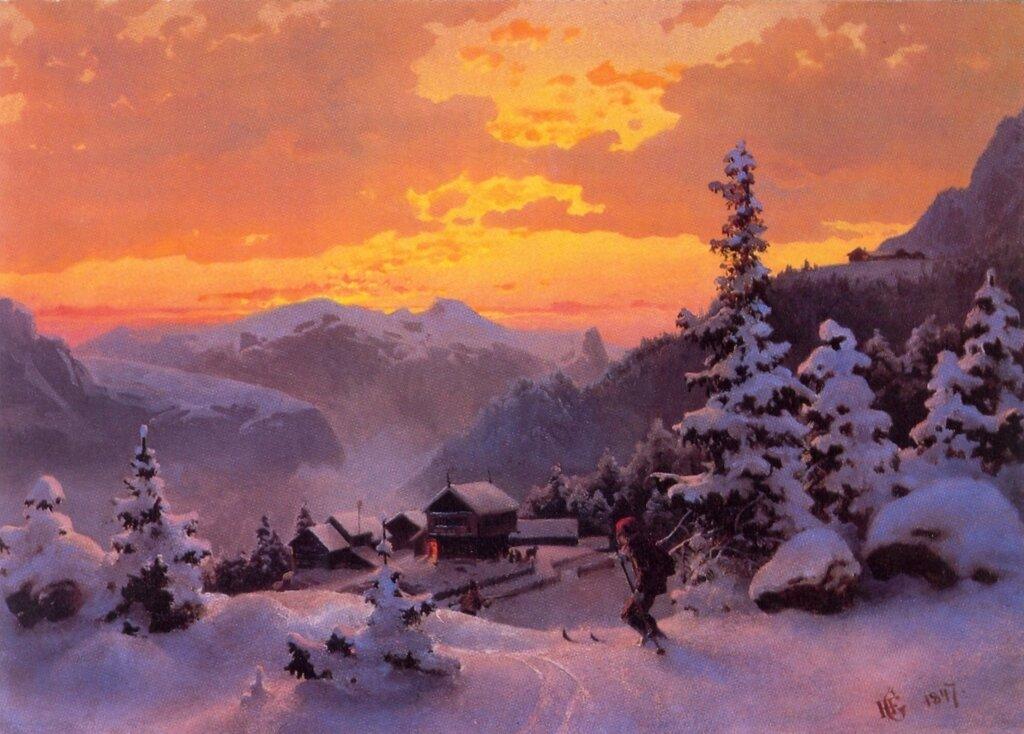 Hans Gude--Vinterettermiddag--1847..jpg