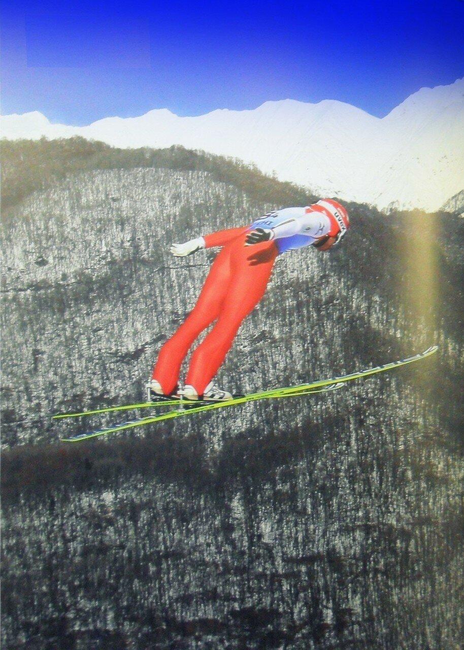 В полёте, спорт, лыжи, трамплин