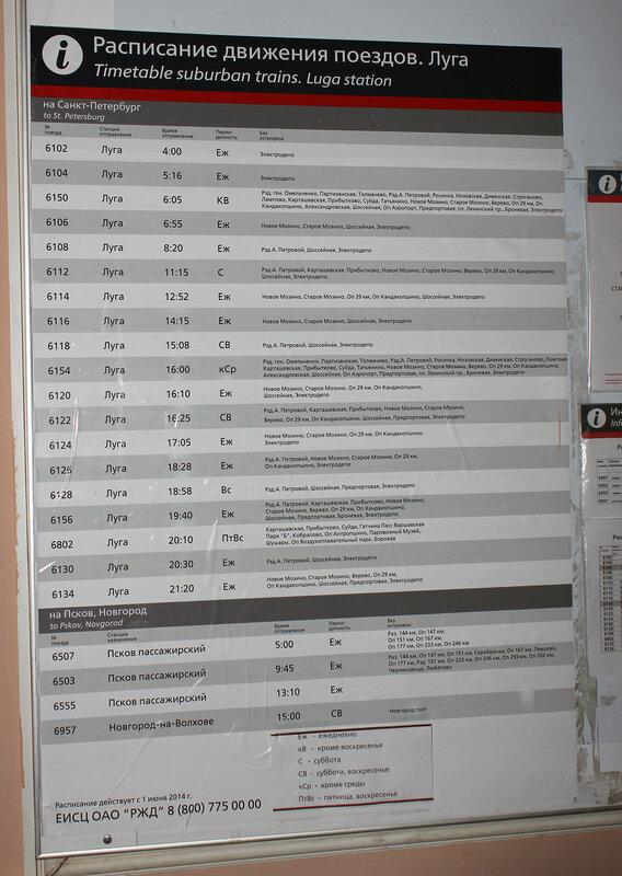 Расписание по станции Луга-1