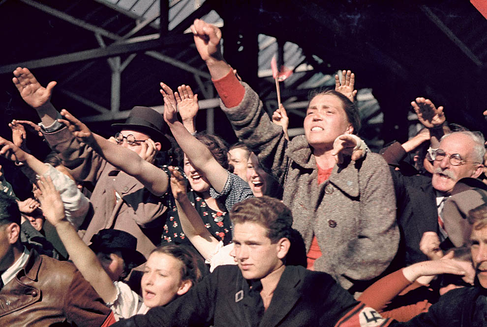 Crowds cheering Hitler's Austrian election campaign.  (Photo by Hugo Jaeger/Timepix/Time Life Pictures/Getty Images)