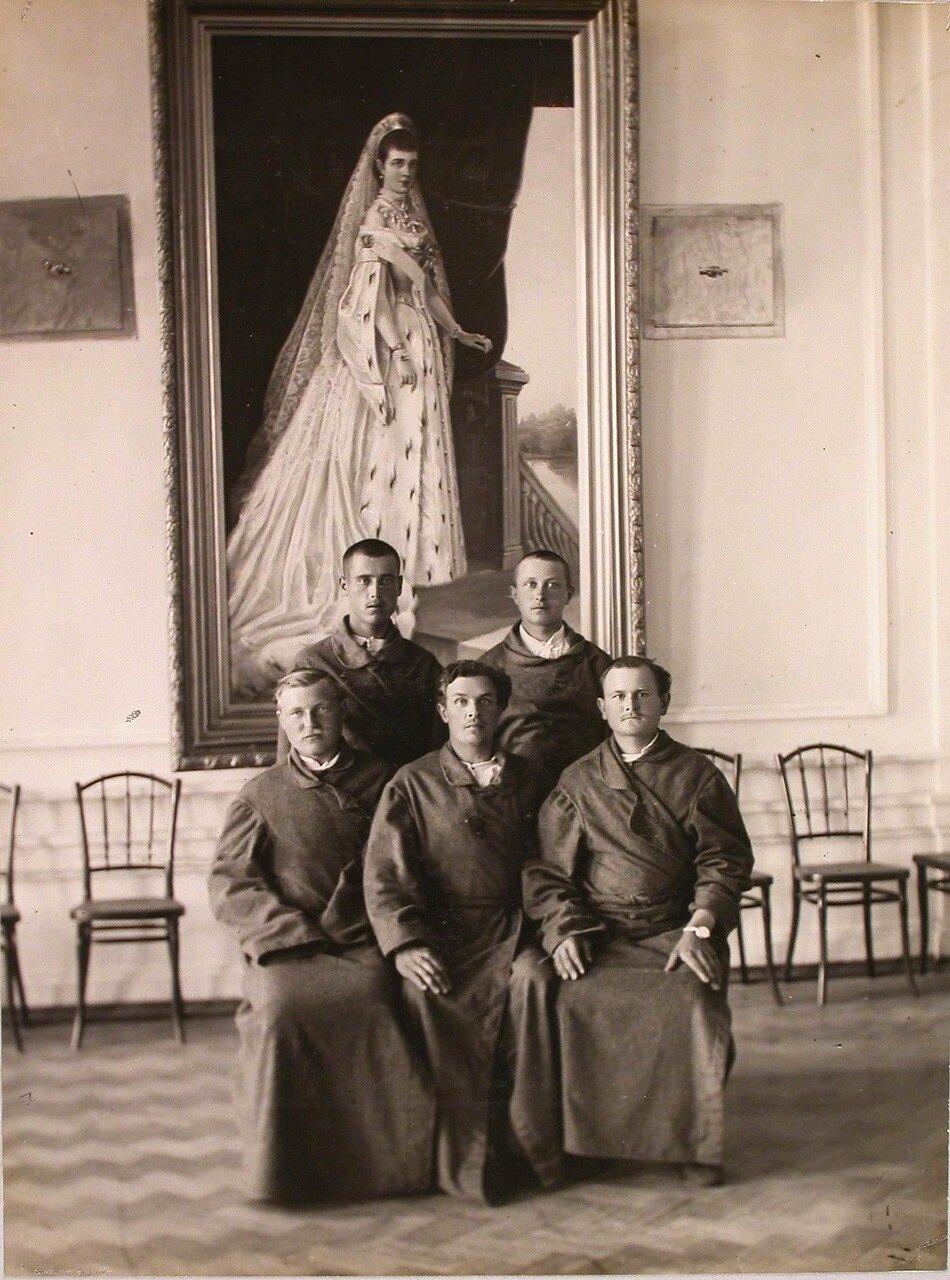 28. Группа раненых в зале у портрета вдовствующей императрицы Марии Федоровны