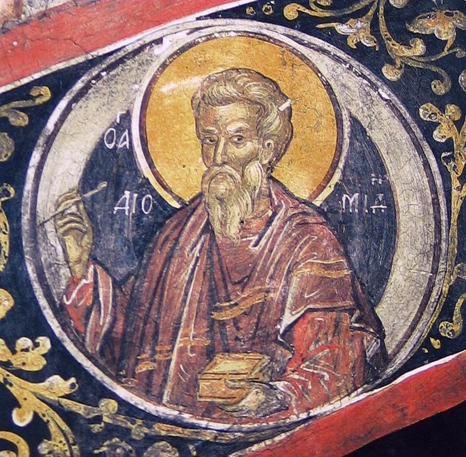 Святой мученик Диомид Врач. Фреска Феофана Критского в монастыре Св. Николая Анапафсаса, Метеоры, Греция. 1527 год.