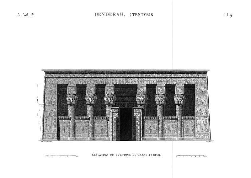 Святилище Хатхор в Дендре, Египет, главный фасад из Наполеоновского атласа