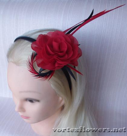 ободок с красной розой
