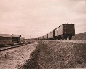 Общий вид военно-санитарного поезда, находящегося в пути.