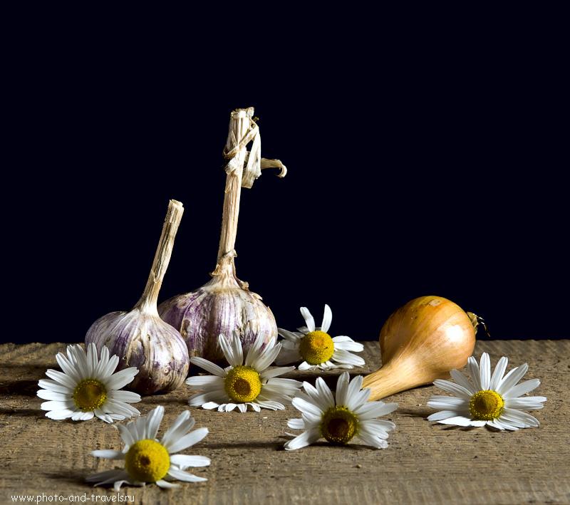 """11. Натюрморт с чесноком и луком. Фотоурок """"Съемка цветов на черном фоне"""". Снято на зеркальную камеру Nikon D5100."""
