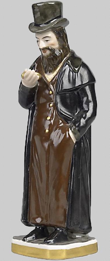 """""""Еврей смотрящий на свои часы."""" 1800-1820 годы, Фарфоровая фабрика Гарднера, «Мануфактур Гарднеръ», Вербилки"""