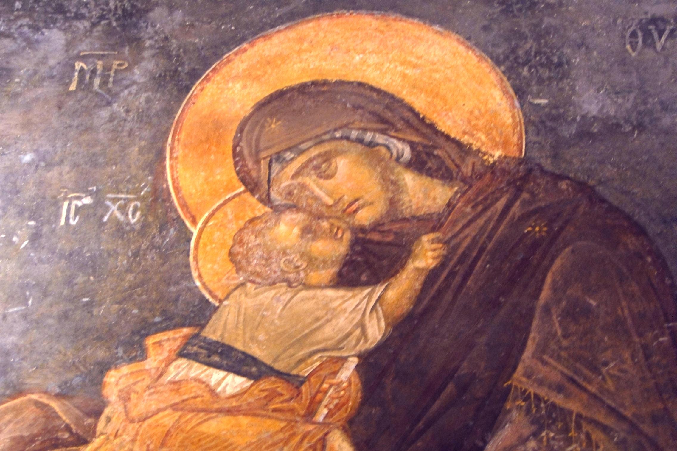 Богоматерь Гликофилуса. Фреска монастыря Хора в Константинополе. 1315 - 1321 годы. Фрагмент.
