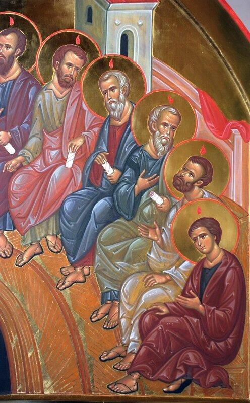 Сошествие Святого Духа на Апостолов. Иконописец Наталия Пискунова. Фрагмент.