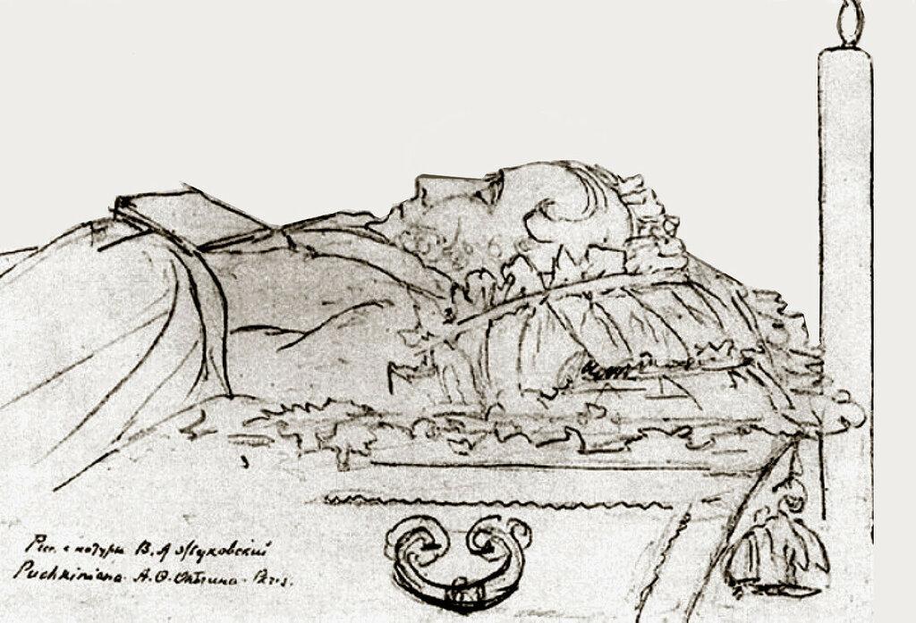 Рисунок выполнен близким другом А.С. Пушкина, поэтом и воспитателем наследника престола, будущего императора Александра II, В.А. Жуковским. Он был рядом с гением в последние дни его жизни