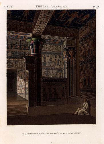 Рамессеум, храм фараона Рамсеса II, Египет, интерьер павильона фараона, гравюра из наполеоновского атласа