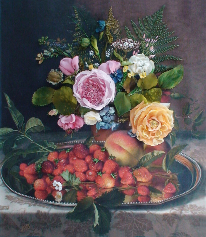 Картина  Otto Didrik Ottesen  «Натюрморт с цветами, фруктами и дубовыми ветками» и моя вышивка лентами