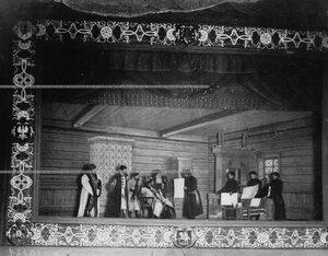 """""""Царь слушает челобитные в грановитой палате"""" - сцена из постановки живых исторических картин."""