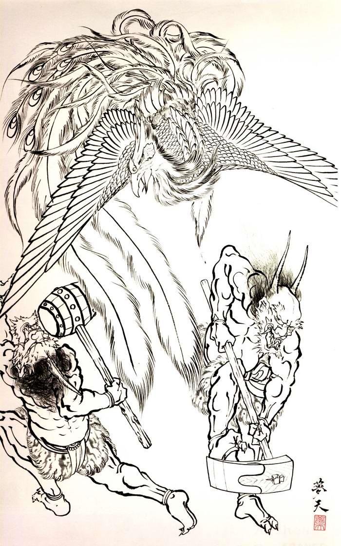 Злобные демоны на эскизах татуировок японского художника Horiyoshi (38)