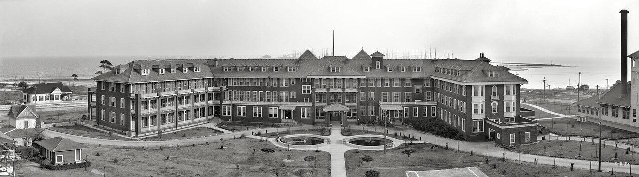 1906. Панорама «Грейт Соуферн Отель» Галфпорт, Миссисипи