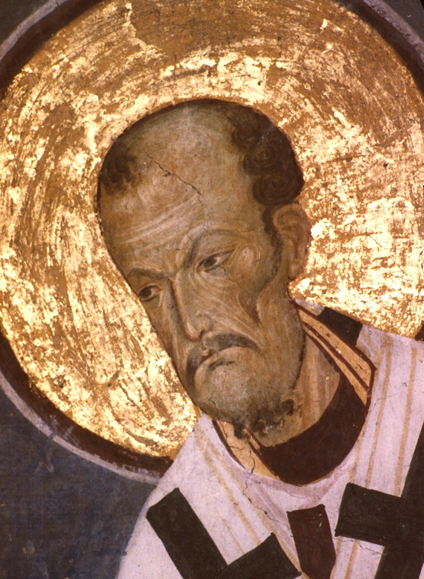 Святитель Иоанн Златоуст, Архиепископ Константинопольский. Фреска церкви Богородицы в монастыре Студеница, Сербия. 1208 - 1209 годы.