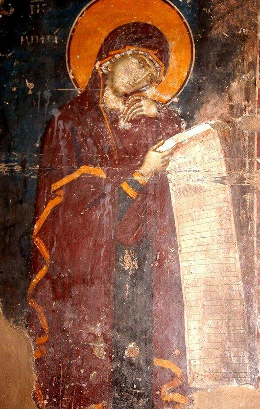 Богоматерь Параклесис. Фреска церкви Св. Николая Орфаноса в Салониках, Греция. XIV век.