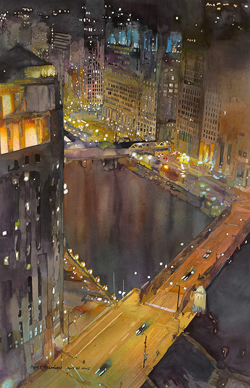 "Chicago River 23.25""x36"""