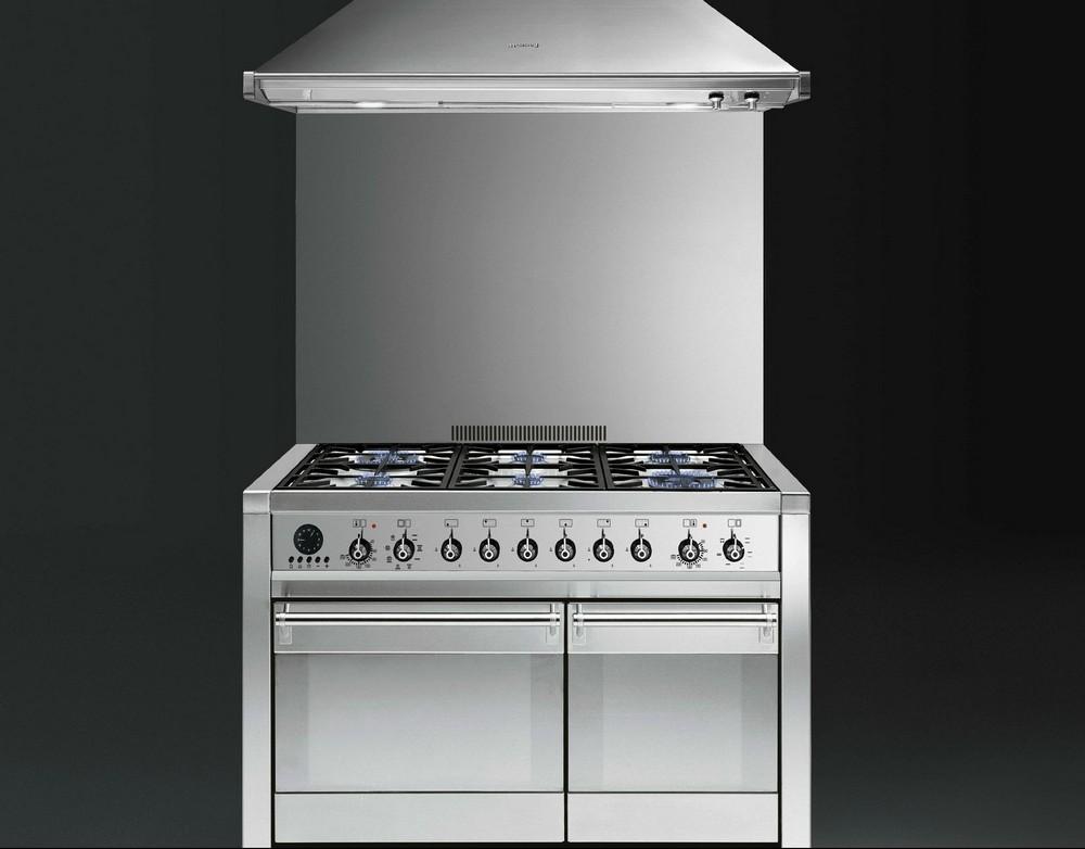 Smeg кухонная плита 90 см шириной из нержавейки, серия Classica