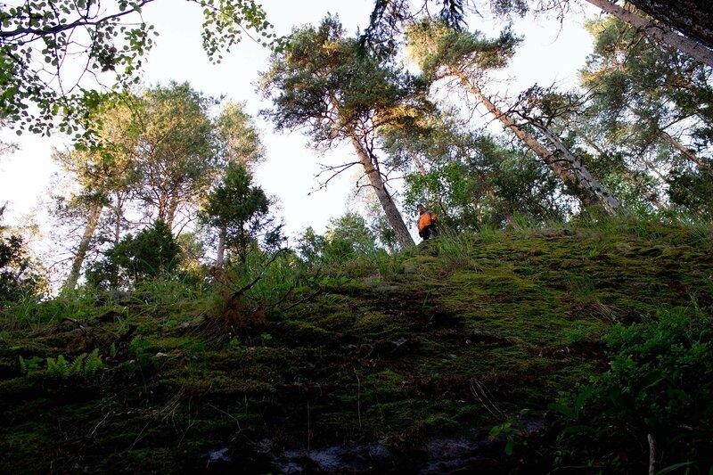 обрыв залива Korospohja озера Пайянне (Pajanne) в парке Ваарунвуорет (Vaarunvuoret)