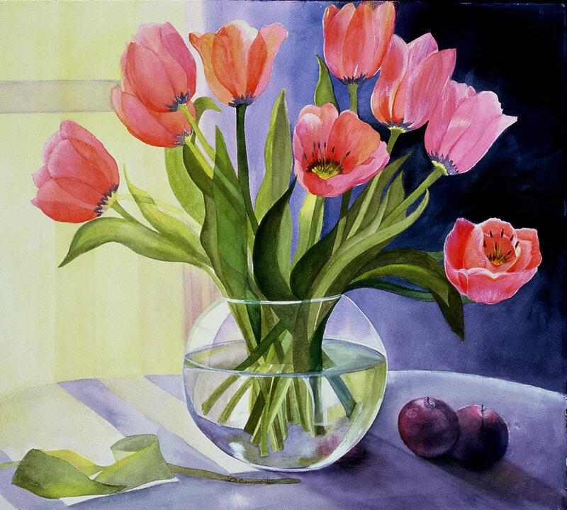 Большие открытки, тюльпаны в вазе картинки рисунок