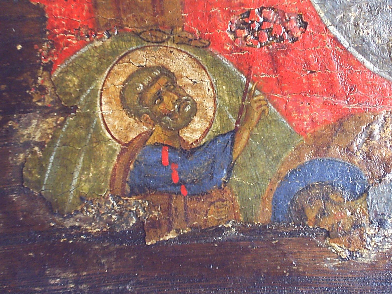 Преображение Господне. Икона. Византия, XII век. ГЭ. Фрагмент - Святой Апостол Пётр.
