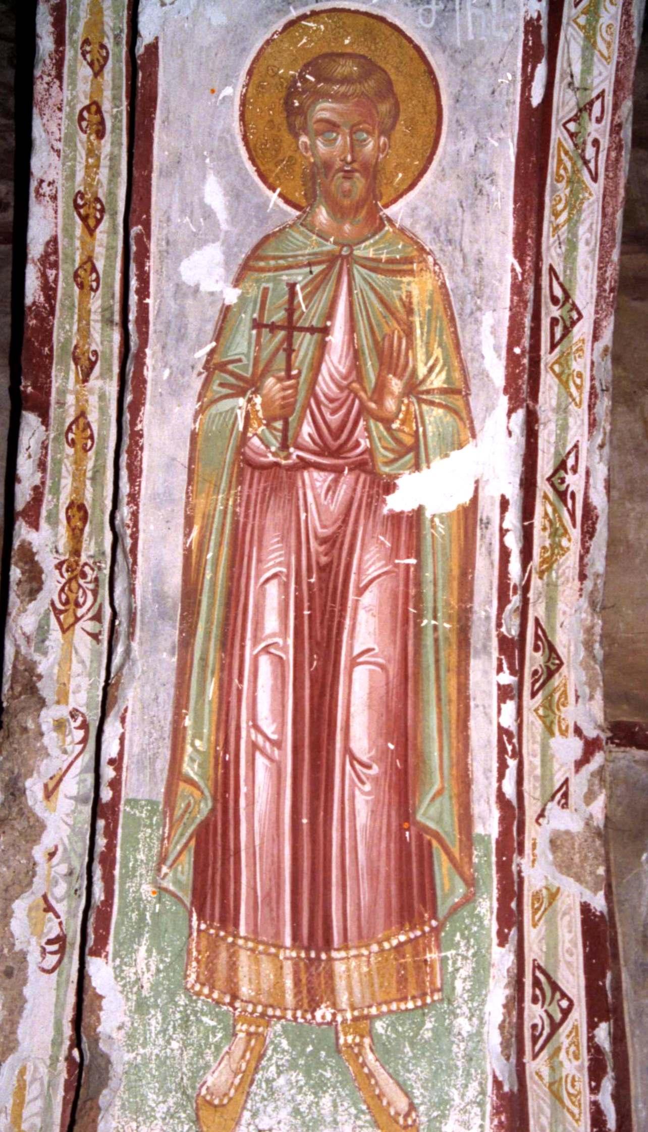 Святой Мина. Фреска собора Христа Спасителя в Цаленджихе, Грузия. XIV век.