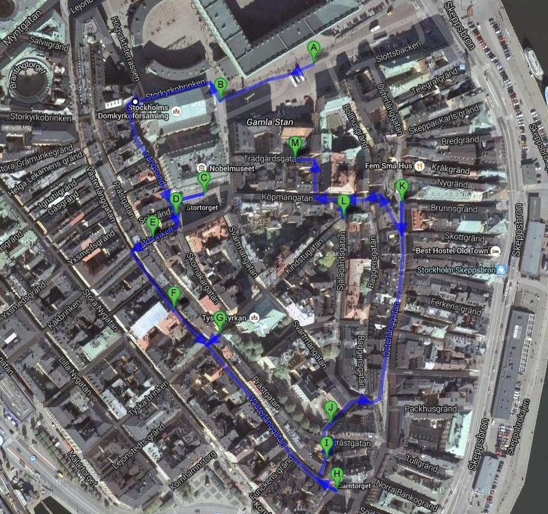 Маршрут прогулки по Гамла Стан. Стокгольм. Stockholm. Gamla Stan route