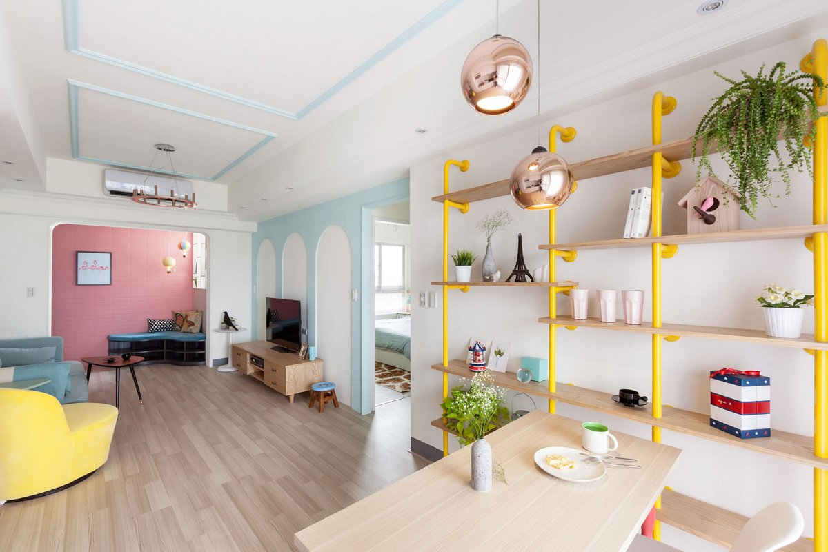 The Wonderland Apartment, House Design Studio, квартира в Тайване, квартира в городе Гаосюн, интерьер небольшой квартиры фото, цветная квартира фото