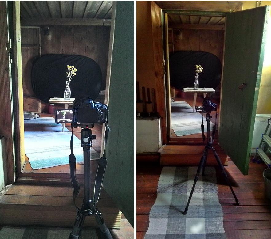 1. Как снимать натюрморты в бане. На переднем плане - карбоновый штатив Sirui T-2204X и зеркалка Nikon D5100 с объективом Nikon 17-55mm f/2.8. В качестве черного фона служит отражатель.
