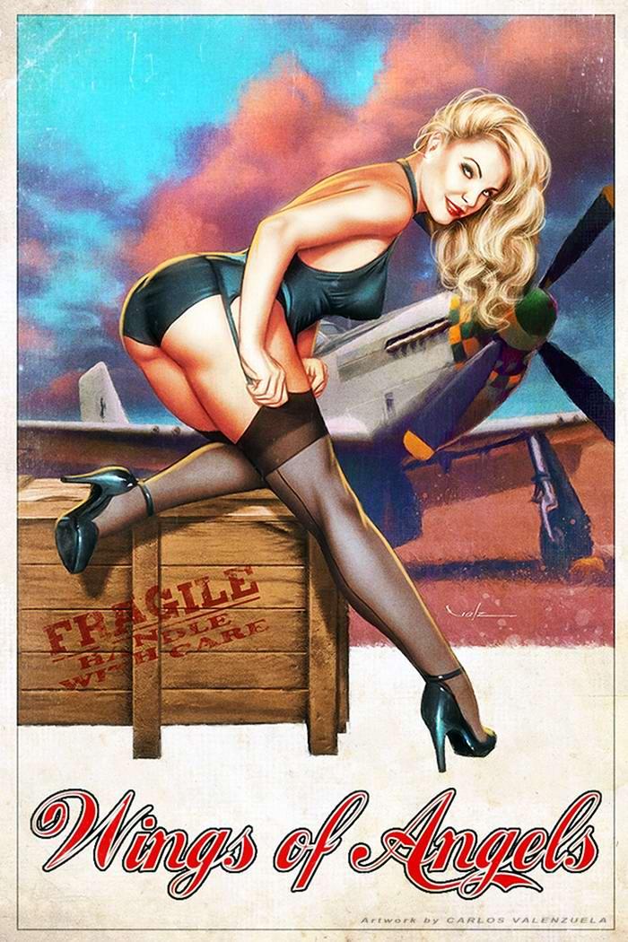 Армейский пин-ап разных художников - девушки с оружием (12)