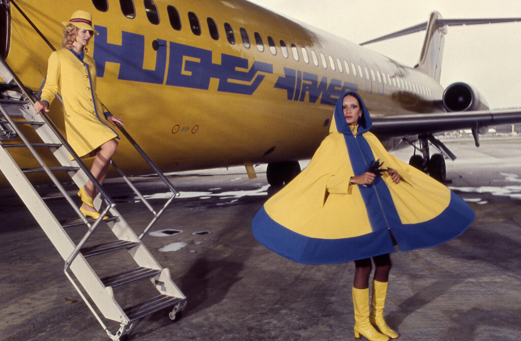 Between 1972 and 1977, Hughes Airwest flight attendants wore go-go boots, hot pants, fake eyelashes and bouffant hairstyles.jpg