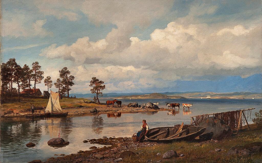 Hans Gude - Fjordlandskap med folkeliv (1875).jpg