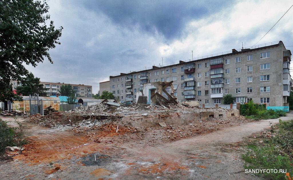 Снос разрушившегося здания по Фрунзе в Троицке