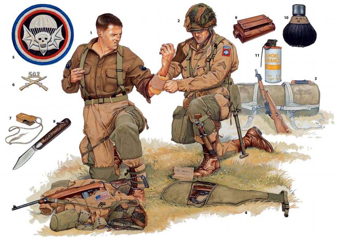 Вооружение и экипировка военнослужащих 502-го и 505-го парашютных пехотных полков армии США на побережье французской Нормандии (6 июня 1944 года)