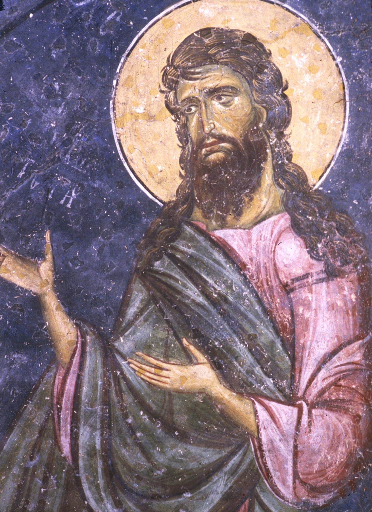 Святой Иоанн Предтеча. Фреска церкви Святых Апостолов в Пече, Косово, Сербия. 1260 - 1263 годы.