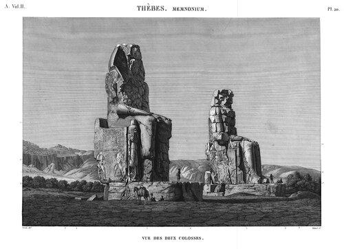 Колоссы Мемнона, Египет, общий вид, гравюра