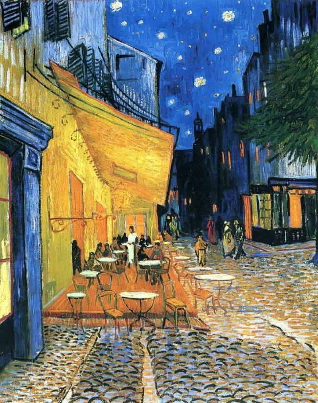 Винсент ван Гог, « Ночная терраса кафе », 1888 Исследователь Джаред Бакстер полагает, что наполотне