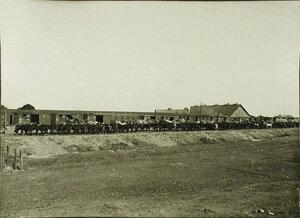Выгрузка имущества роты из вагонов эшелона, прибывшего на станцию.