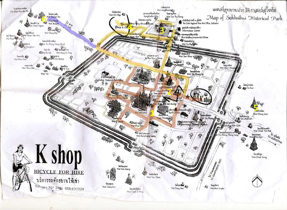 11. Схема расположения достопримечательностей в Historical Park Sukhothai. На вопрос о том, что посмотреть в Таиланде, я скажу - Сукотаи обязательно должен быть в вашем плане путешествия.