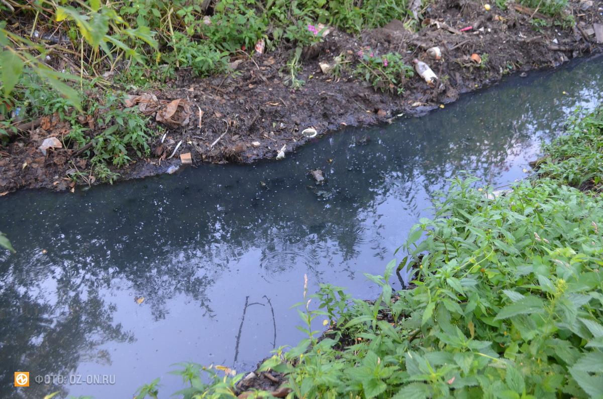 канава, проходящая через поселок, в этот раз ее очистили не полностью